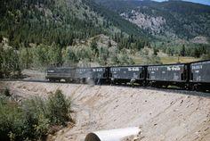 D&RG 472 - Aug 27 1956 - slag cars & caboose 01441 on lower s curve m p  228 6 Monarch Branch COLO