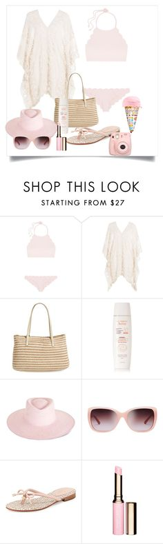 """Pastel Swim"" by shistyle on Polyvore featuring Marysia Swim, Eberjey, Eric Javits, Avène, Ryan Roche, Tory Burch, Kate Spade and Clarins"