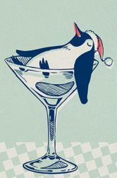 A penguin in a martini glass, so cute! Penguin Day, Penguin Love, Cute Penguins, Funny Penguin, Penguin Craft, Penguin Illustration, Retro Illustration, Papi, Illustrations