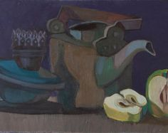 Still Life with lamp, kettle and apple