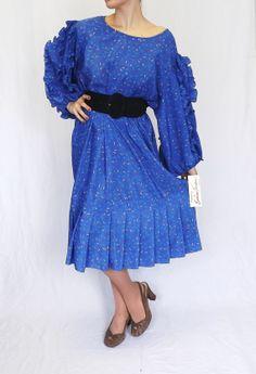 Vintage Plus Size 3X 80s Susan Tudor Drop Waist Pleated Party Purple Polka Dot Graphic Print Ruffled Fiesta Salsa Flamenco Dress Hippie