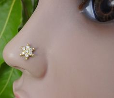 Nose PinCrystal Nose RingIndian Traditional by TheEthnicJewels Straight Nose, Medusa Piercing, Nose Jewelry, Nose Stud, Stone Earrings, Indian, Traditional, Pretty, Pierced Nose