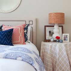 Love the cloth on bedside table idea!