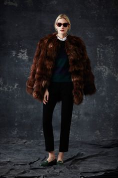 Jenni Kayne F/W 2014, fur coat, cropped trousers, loafers, sunglasses