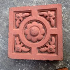 Antique bricks in terracotta. These original nineteenth century decorative bricks have a range of designs that include flowers, leaves and a Tudor Rose. We have a small number of these items. Brick Art, Brick Tiles, Architectural Salvage, Architectural Elements, Decorative Tile, Decorative Bricks, Bricks For Sale, Brick Detail, Cast Iron Fireplace