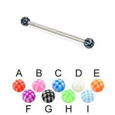 "Long Barbell (Industrial Barbell) With Checkered Balls, 12 Ga,Length:1 3/4"" (44Mm),Ball Size:1/4"" (6Mm),Color:Black - G Ms.Piercing straight barbell http://www.amazon.com/dp/B00K7ODVJQ/ref=cm_sw_r_pi_dp_fmLdub0DW37VM"
