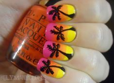 Let's use your creativity and imagination and do stunning nail art. I present you 19 interesting fruit nail designs. Sunset Nails, Beach Nails, Fruit Nail Designs, Cute Nail Designs, Love Nails, Fun Nails, Jolie Nail Art, Palm Tree Nails, Nagellack Trends