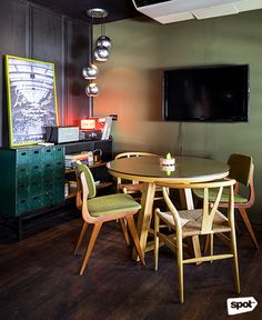 The Space Encounters office showcases consistent branding, a refined take on mid-century design through finishes and furniture, and thoughtful details. Cool Office, Mid Century Design, Manila, Offices, My Design, Cool Stuff, Space, Table, Furniture