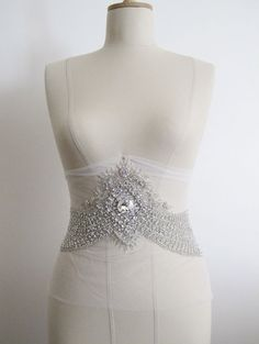 Rhinestone Crystal Beaded Bridal Sash Belt Applique