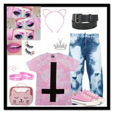 """""""•"""" by meow-im-dead-inside ❤ liked on Polyvore featuring Dsquared2, Forever 21, Converse, Nintendo, Love Is, Allurez and Hot Topic"""