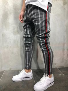 Striped Sweatpants for Men - 2019 Mens Joggers Sweatpants, Red Joggers, Style Casual, Casual Outfits, Fashion Outfits, Fashion Tips, Womens Fashion, Men Looks, Jackett