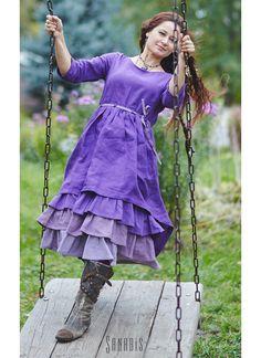 7942937b8d2 Многослойное платье из льна «Лавандовое» – купить в интернет-магазине на Ярмарке  Мастеров
