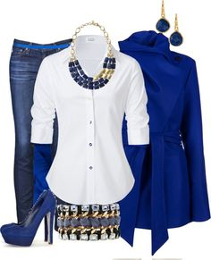 """""""Chasing my Blues away..."""" by michelleruth Stella & Dot!-- These are the kind of blues you want. Love the #necklace on the tailored white #shirt. Perfect."""