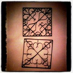 Faux metal wall art! I made four of these 12x12 inch squares for less than 10 dollars. They look just like metal, but I used.....wait for it..... paper towel/toilet paper rolls. yup. Then spray painted them with a metallic/hammered paint.
