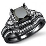 2.0ct Black Princess Cut Diamond Engagement Ring Bridal Set 14k Black Gold