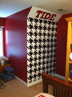 """crimson tide themed living room   Roll Tide Relaxation"""", Wall paintings for an Alabama Football themed ..."""
