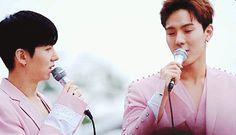 they look so beautiful! showki in pink = gorgeous #showki #shownu #kihyun #MonstaX #pink couple #otp