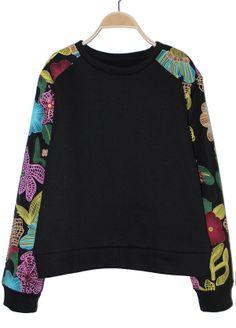 Black Vintage Floral Long Sleeve Loose Sweatshirt - Sheinside.com