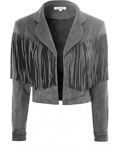 Glamorous Jackets, Price: GBP 54.00, Grey Suedette Fringe Crop Jacket