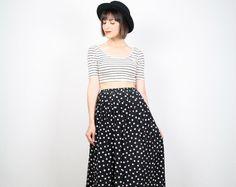 Vintage 80s Skirt Black and White Skirt Polka by ShopTwitchVintage, $28.00