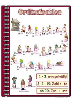 Zahlen _ Ordinalzahlen _ Lernposter Arbeitsblatt - Kostenlose DAF Arbeitsblätter