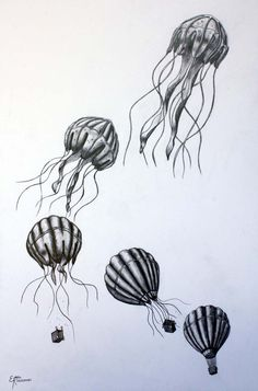 air balloon transformed into a jellyfish.hot air balloon transformed into a jellyfish. Jellyfish Drawing, Jellyfish Painting, Watercolor Jellyfish, Jellyfish Tattoo, Jellyfish Quotes, Jellyfish Facts, Jellyfish Tank, Jellyfish Aquarium, Jellyfish Light