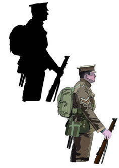 The soldier on the left side of the page is a silhouette version of my soldier. The right soldier I used a poster edges effect, which made the outlines of the soldier a lot more bolder.