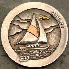 Steve Cox - Sailboat Pewter Art, Hobo Nickel, Coin Art, Rock Lee, Sailboats, Art Forms, Sailing Ships, Edc, Sculpture Art