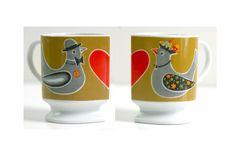 Vintage Love Birds Ceramic Heart Pedestal Mug by WiseApple on Etsy, $16.00