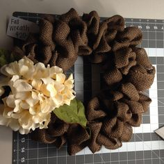 Fall burlap wreath in brown