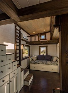 A 24 long, 275 sq. off-grid, steel framed tiny house. The house includes a galley kitchen with box beam ceiling, two lofts plus queen daybed, skylight. House Design, House Plans, House Interior, Small Spaces, Home, Tiny House Inspiration, Tiny House Plans, Little Houses, Tiny House Living