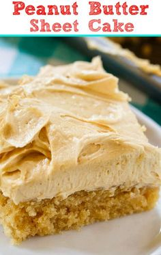Peanut Butter Sheet Cake is a moist sheet cake topped with a super creamy and sweet peanut butter icing. Peanut Butter Sheet Cake is a moist sheet cake topped with a super creamy and sweet peanut butter icing. Perfect for potlucks! Peanut Butter Sheet Cake, Peanut Butter Icing, Peanut Butter Desserts, Peanut Butter Brownies, 13 Desserts, Delicious Desserts, Dessert Recipes, Yummy Food, Tasty
