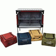 Camp Kitchen - Camp Chef Sherpa Camp Table and Organizer, $91.77 at Amazon. I see a reduction in plastic bins in my future camping :)