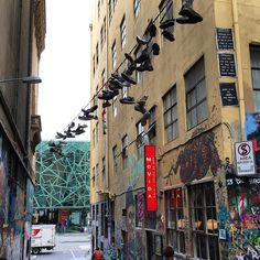 Street Art and hanging trainers #HosierLane #Melbourne. #travel #tourism #tourist #leisure #life #culture #VIC #IgersMelbourne #IgersAustralia #Australia #Victoria #IgersVIC #urban #streetart #graffiti #graffitiart #hiphop