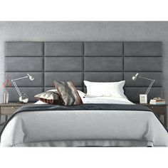 Shop for Vant Upholstered Wall Panels (Headboards) Sets of 4 - Micro Suede Gray - 30 Inch - Full-Queen. Get free delivery On EVERYTHING* Overstock - Your Online Furniture Shop! Contemporary Headboards, Modern Headboard, Queen Headboard, Wood Headboard, Panel Headboard, Modern Bedroom, Girls Headboard, Custom Headboard, Headboard Ideas