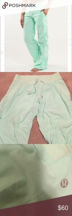 Lululemon Mint green studio pants Rare color! Size 8. Little wear and tear on the bottom but can easily come out!! Other than that no material issues! lululemon athletica Pants