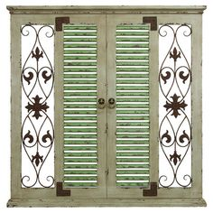 Add a touch of rustic country charm to your home with this window-inspired wood and metal wall decor, showcasing scroll and fleur-de-lis detail.