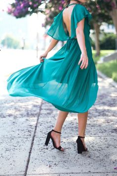 Emerald Green Flowy Dress