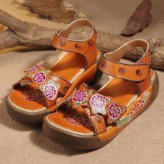 1487495246d9 Hook Loop Open Toe Leather Flower Printing Retro Sandals  Sandals   Women sShoes Hippie