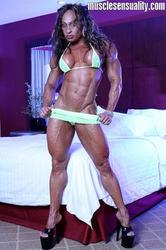 IFBB Pro Female Bodybuilder Betty Viana - Adkins posing her beautiful muscles and great calves for musclesensuality!