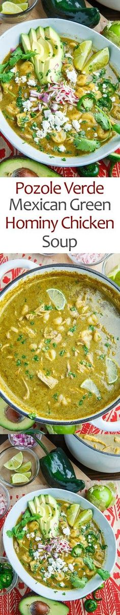 Pozole Verde de Pollo (Green Mexican Hominy and Chicken Soup) | CUCINA DE YUNG