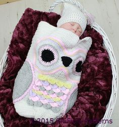 CROCHET PATTERN For Owl Baby Cocoon Papoose & Hat in 3 by ShiFio