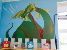Puff the Magic Dragon!! Hand Painted wall Mural for school library in Skerries, Dublin... Acrylic.. by Simon at RubyRua Interiors.. Contact me at bronwynrcb@gmail.com