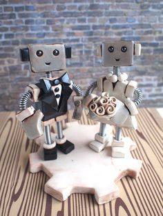 Custom Robot Wedding Cake Topper MADE TO ORDER by RobotsAreAwesome, $85.00