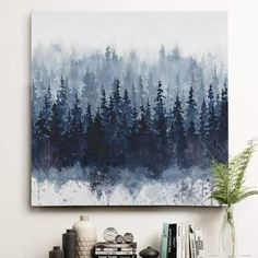 Wayfair 'Indigo Forest' Oil Painting Print on Wrapped Canvas - ShopStyle Artwork Landscape Sketch, Watercolor Landscape, Watercolor Art, Painting & Drawing, Painting Prints, Art Prints, Abstract Painting Canvas, Oil Paintings, Painting Portraits