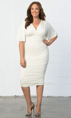Sexy Plus Size White Ruched Dress - Shop www.curvaliciousclothes.com