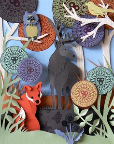 Helen Musselwhite papercraft - Хелен Масселвайт,  картины из бумаги скульптуры из бумаги, иллюстрации из бумаги, бумажный креатив