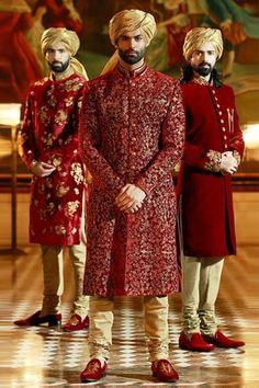 Samyakk Red And Golden Silk Embroidered Achkan Sherwani
