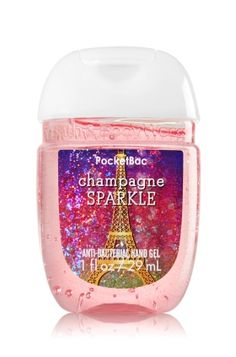 Champagne Sparkle - PocketBac Sanitizing Hand Gel - Bath & Body Works - Now with more happy! Our NEW PocketBac is perfectly shaped for pockets & purses, making it easy to kill 99.9% of germs when you're on-the-go! New, skin-softening formula conditions with Aloe & Vitamin E to leave your hands feeling soft and clean.