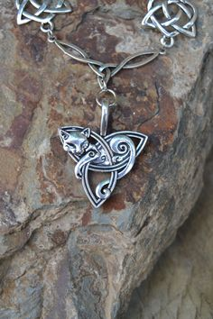 Statement silver celtic cat necklace by Valkyrie´s Song jewelry